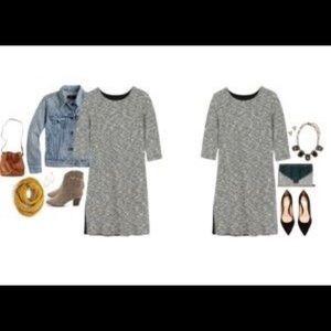 Three Dots Metallic Tweed Shift Dress